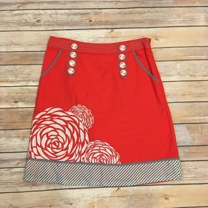 Anthropologie Floreat Red Floral & Striped Skirt